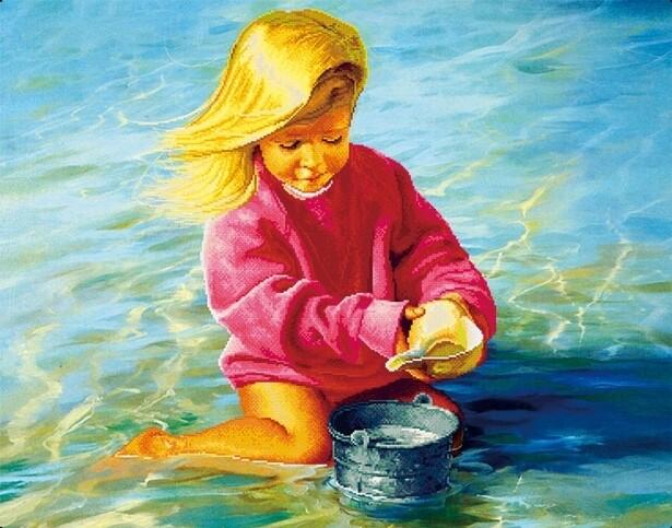 Набор алмазной вышивки (30х40см) Цветной LZE014 Беззаботное детство (без подрамника)