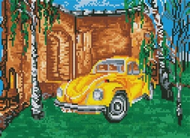 Набор алмазной вышивки (30х40см) Цветной LE039 Желтое авто среди берез