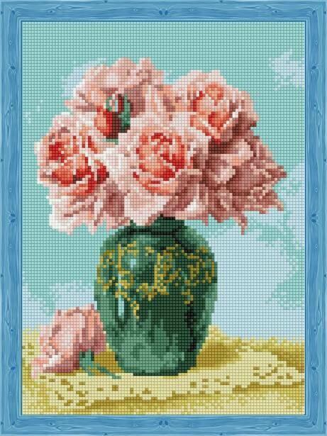 Набор алмазной вышивки (30х40см) Цветной QS200569 Восточные розы