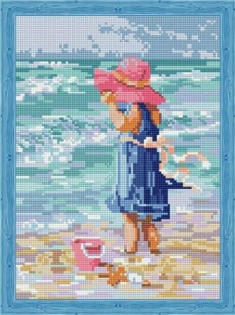 Набор алмазной вышивки (30х40см) Цветной QS200744 Девочка в розовой шляпе