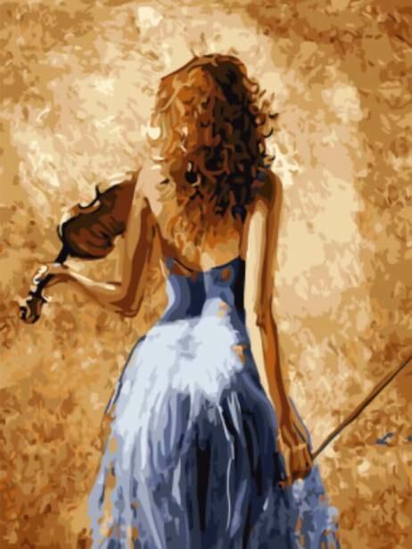 Набор алмазной вышивки (30х40см) Цветной LZE009 Девушка Со Скрипкой (без подрамника)