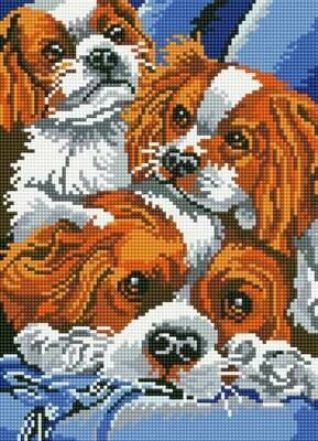 Набор алмазной вышивки (30х40см) Цветной LE059 Милые собаки