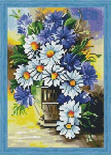 Набор алмазной вышивки (30х40см) Цветной QS200479 Букет ромашек с васильками
