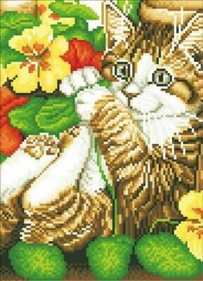 Набор алмазной вышивки (30х40см) Цветной LZE050 Игривый котенок (без подрамника)
