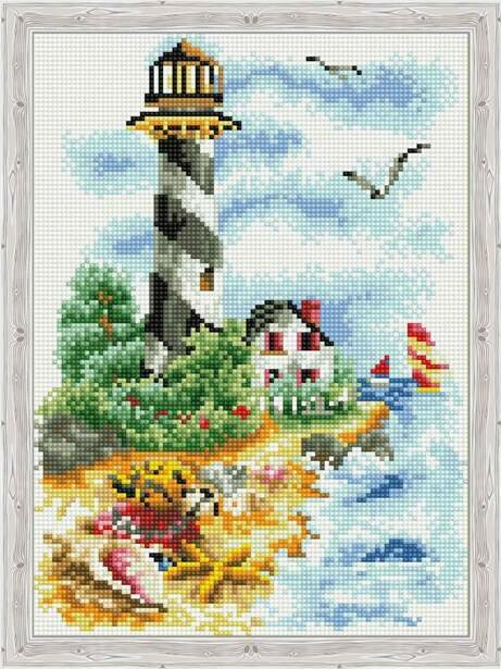 Набор алмазной вышивки (30х40см) Цветной QS200122 Чайки у маяка