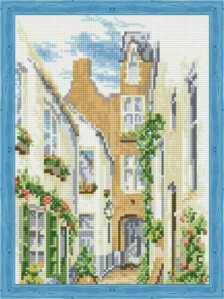 Набор алмазной вышивки (30х40см) Цветной QS200070 Солнечный дворик