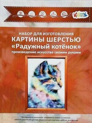 Набор для валяния из шерсти картины Цветной SH055 Радужный котёнок