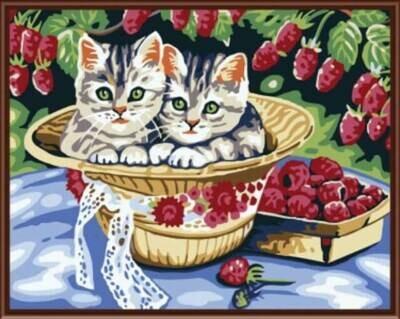 Картина по номерам (30х40см) Цветной EX5802  Котята в саду