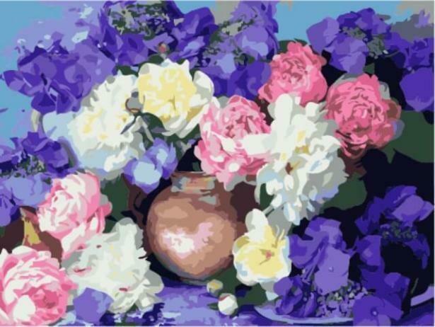 Картина по номерам (30х40см) Цветной ME1022 Пионы и гортензия