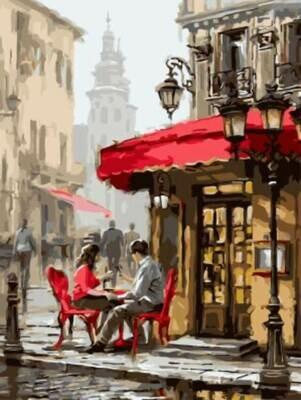 Картина по номерам (30х40см) Цветной EX5739 Влюбленные в кафе