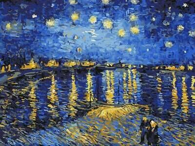 Картина по номерам (30х40см) Цветной EX5348  Звездная ночь над Роной