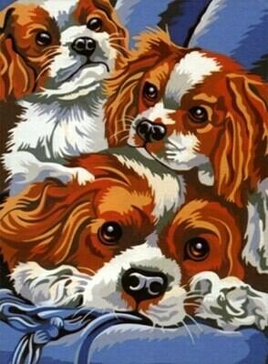 Картина по номерам (30х40см) Цветной ME008 Домашние любимцы