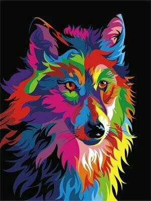 Картина по номерам (30х40см) Цветной ME1002 Волк поп-арт
