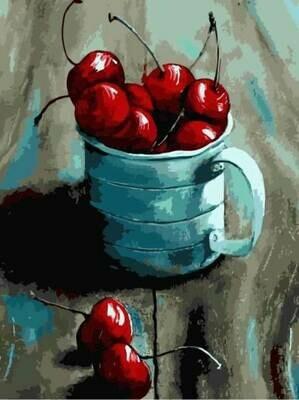 Картина по номерам (30х40см) Цветной ME1057 Вишня в кружке