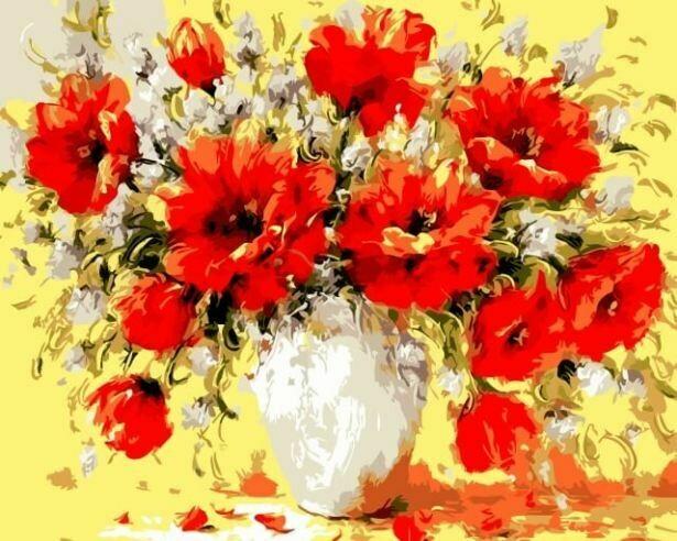 Картина по номерам (30х40см) Цветной ME1015 Букет маков
