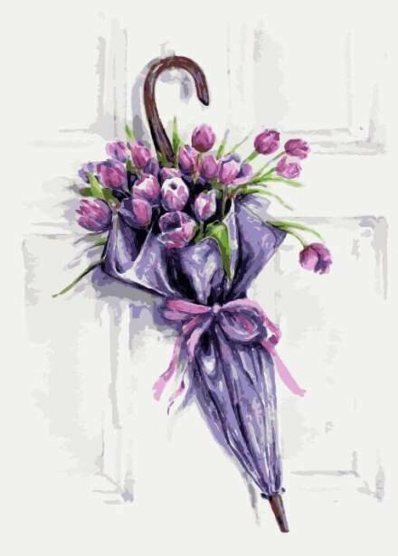Картина по номерам (30х40см) Цветной ME1083 Цветочный зонт