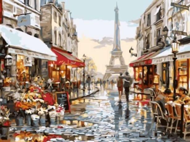 Картина по номерам (30х40см) Цветной EX5691 Нарядная парижская улочка