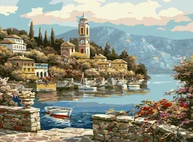 Картина по номерам (30х40см) Цветной EX5218 Деревенская башня с часами