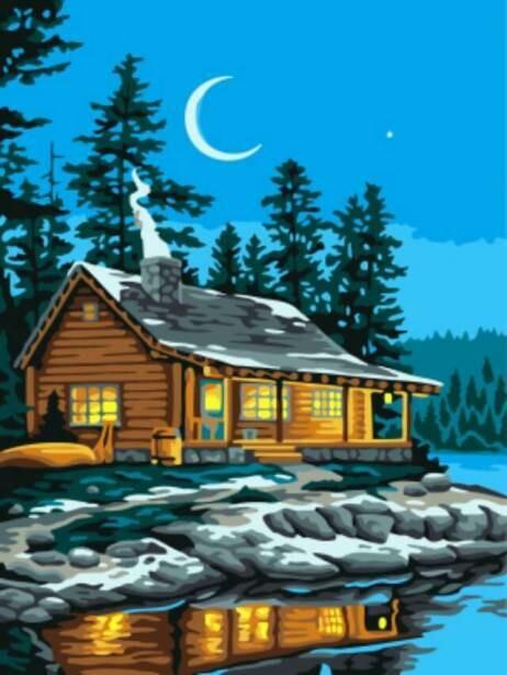Картина по номерам (30х40см) Цветной EX5874 Домик у озера