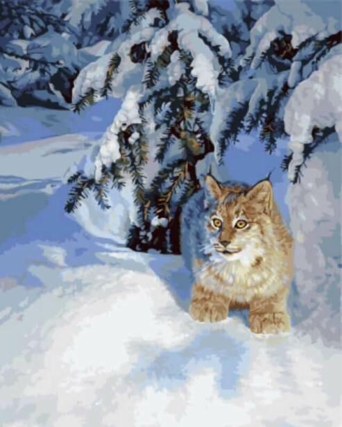 Картина по номерам ТМ Цветной GX5754 Рысь в снегу