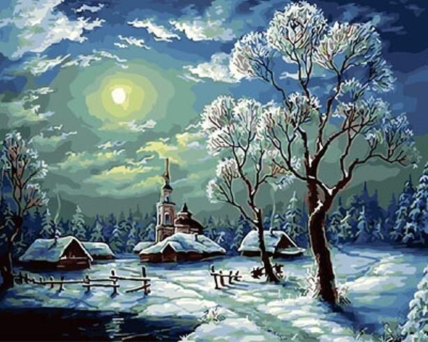 Картина по номерам (40х50см) Цветной GX29459 Зимний ночной пейзаж