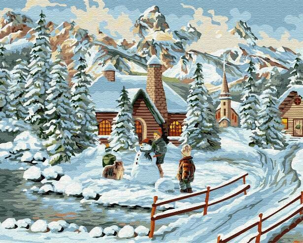 Картина по номерам (40х50см) Цветной GX30921 Зимний городок