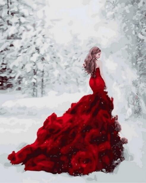 Картина по номерам (40х50см) Цветной GX31189 Огненное платье