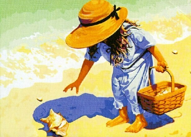 Картина по номерам (40х50см) Цветной MG037 На пляж, за ракушками!