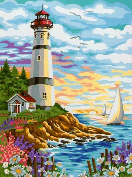 Картина по номерам (40х50см) Цветной MG086 Красочный маяк