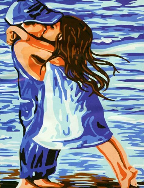 Картина по номерам (40х50см) Цветной MG119 Поцелуй