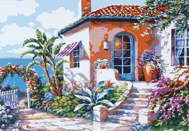 Картина по номерам (40х50см) Цветной MG3113 Живописный дворик