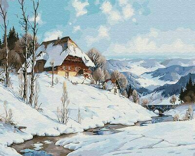 Картина по номерам (40х50см) Цветной GX31641 Зимний дом у реки