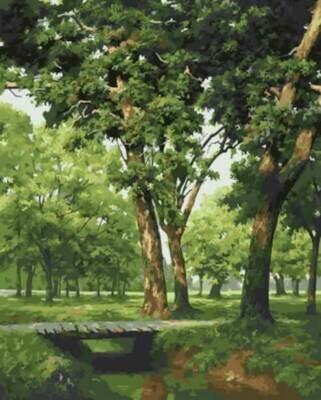 Картина по номерам (40х50см) Цветной GX5677 Мостик в лесу
