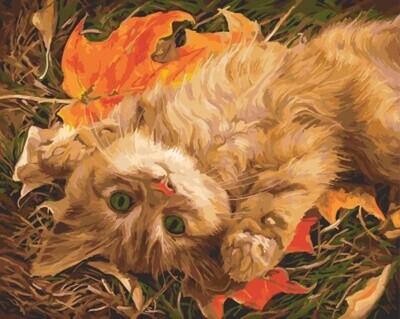 Картина по номерам (40х50см) Цветной GX5751 Рыжий котенок