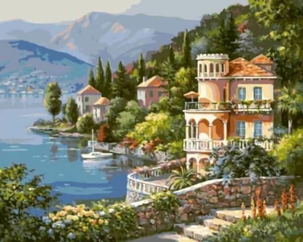 Картина по номерам (40х50см) Цветной GX6915 Вилла на берегу озера