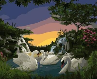 Картина по номерам (40х50см) Цветной GX7807 Лебеди