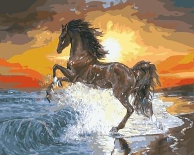Картина по номерам (40х50см) Цветной GX7838 Конь на закате