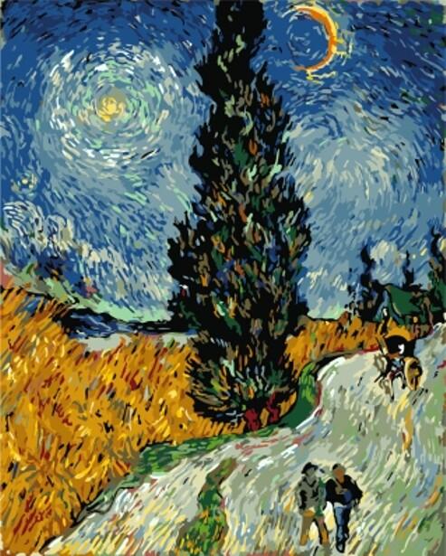 Картина по номерам (40х50см) Цветной GX7927 Кипарисы на фоне звездного неба Винсента Ван Гога