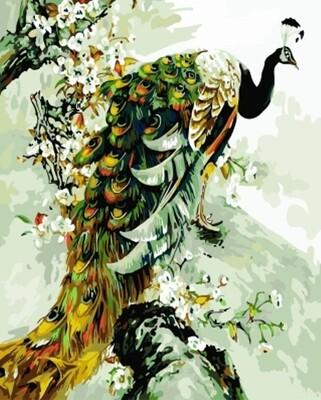 Картина по номерам (40х50см) Цветной GX7906 Изумрудный Павлин