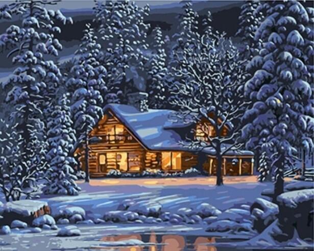 Картина по номерам (40х50см) Цветной GX8141 Зимним вечером
