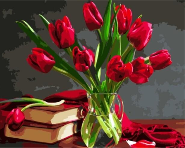 Картина по номерам (40х50см) Цветной GX8115 Букет красных тюльпанов