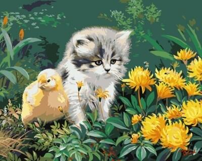 Картина по номерам (40х50см) Цветной GX8207 Маленькие друзья