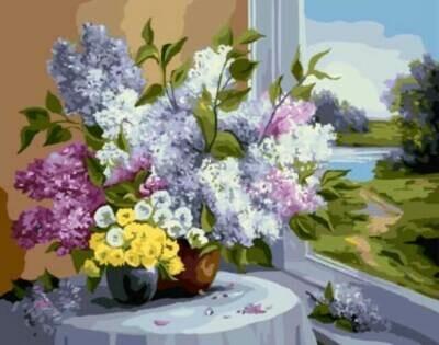 Картина по номерам (40х50см) Цветной GX8248 Букет у окна