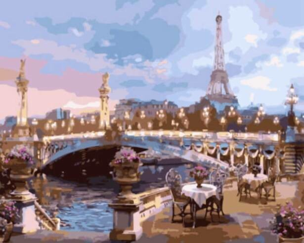 Картина по номерам (40х50см) Цветной GX9012 Вечер в Париже
