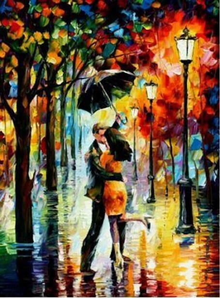 Картина по номерам (40х50см) Цветной MG1016 Под дождём