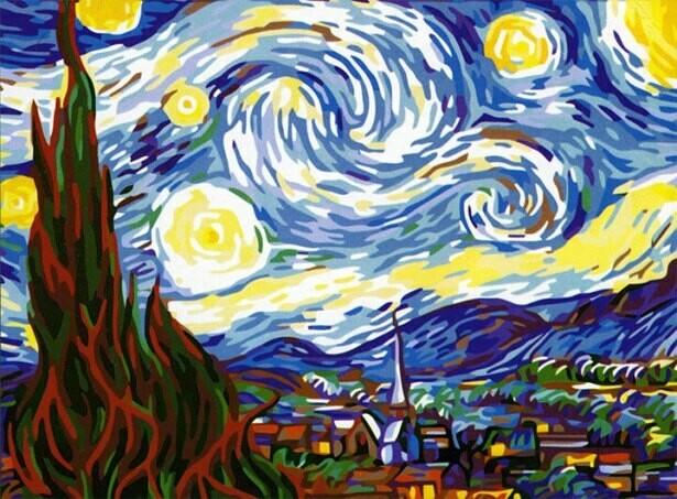 Картина по номерам (40х50см) Цветной MG124 Звездная ночь