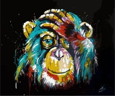 Картина по номерам (40х50см) Цветной MG2033 Радужная обезьяна