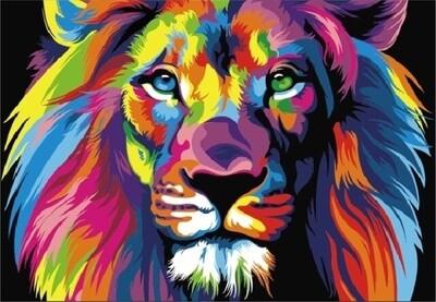 Картина по номерам (40х50см) Цветной MG2034 Радужный лев