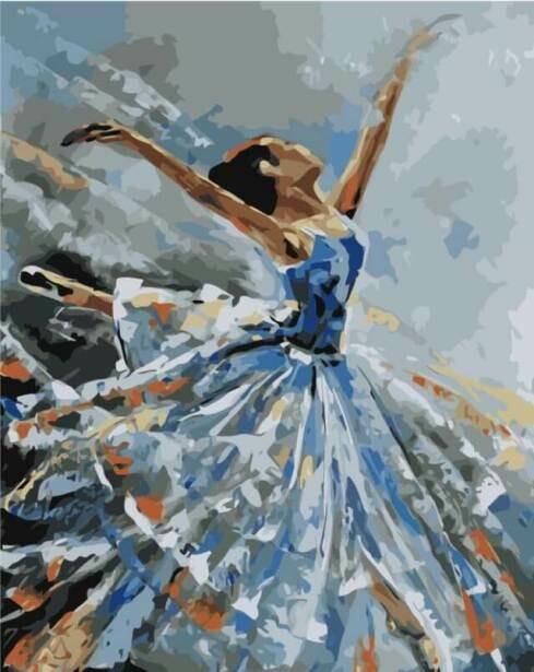 Картина по номерам (40х50см) Цветной MG2050 Балерина в голубом