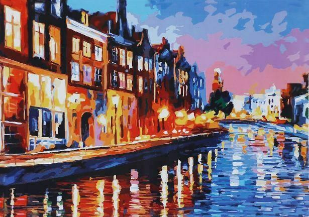 Картина по номерам (40х50см) Цветной MG3164 Огни города